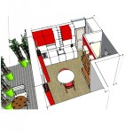 3D proposition d'agencement retenu studio rouge blanc