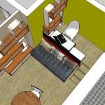3D proposition d'agencement studio estrade et bureau